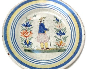 Antique french decorative Malicorne ceramic plate by Beatrix Pouplard