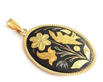 vintage damascene pendant, Toledo spain jewelry