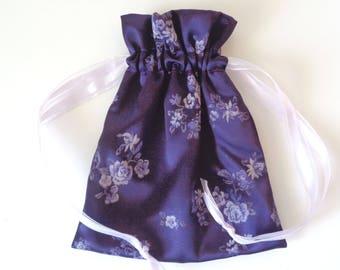 Purple drawstring bag, drawstring bag, bridesmaid gift, evening bag, money dance bag, brides money bag, purple bag, jewelry bag, cosmetic
