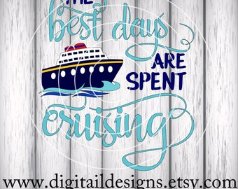 Cruise SVG - Cruise Ship SVG - png - dxf - eps - fcm - ai - The Best Days -  Vacation Cut File  - Silhouette - Cricut - Scan N Cut