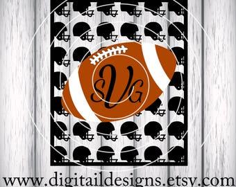 Football Monogram SVG - png - dxf - eps - fcm- ai - Cut file - Silhouette - Cricut - Football - Football Pocket