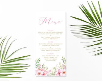 Pink and Gold Floral Wedding Menu Printed on Luxury Cardstock | Custom Changes | Free Colour Changes | Peach Perfect Australia
