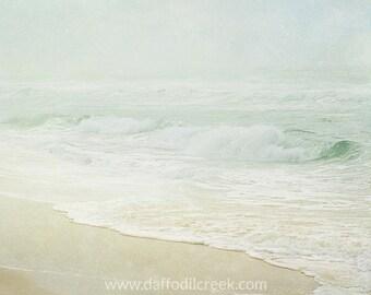 Beach Photography, Beach Wall Art, Bedroom Wall Decor, Light Green Wall Art, Sea Green Decor, Bedroom Wall Art, Living Room Wall Art