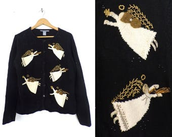 90s holiday cardigan sweater christmas beaded angel fancy applique holy religious christian button down sweater womens jumper medium