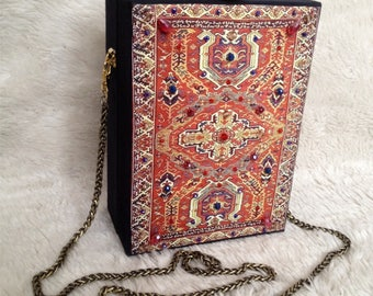 Dark blues carpet print bag