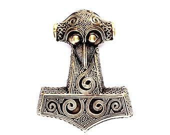 Extra Large Thor's Hammer from Skanne VIKING KRISTALL bronze pendant