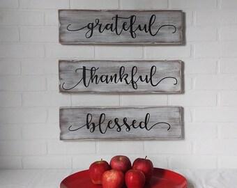 thankful, grateful, blessed, autumn, thanksgiving, fall decor, autumn decor, wall decor, wall sign, farmhouse decor, farmhouse sign, rustic