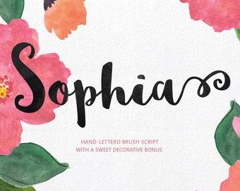 Sophia Hand Lettered Font Download Commercial Script