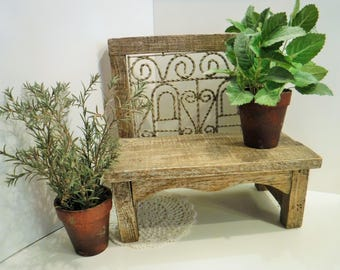 Rustic Wood Bench, Miniature Wood Bench, Home Decor Bench, Vintage Wood And  Metal