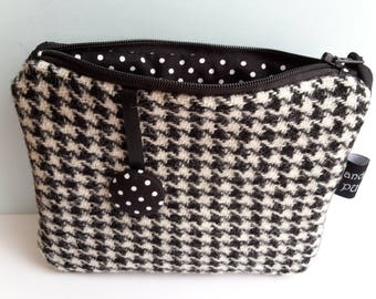 Harris Tweed Black and White Houndtooth Purse, Liberty Purse, Pouch, Gifts for Aunt from Niece, Gifts for Aunt, Wool Passport Holder