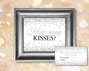 How many kisses sign (INSTANT DOWNLOAD) - Guess how many kisses - Guess how many game - Bridal shower games BR003