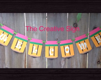 Back to School, Pencil Banner, Classroom, Teachers, School, Welcome, Cardstock