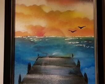 Pier sunset spray art painting