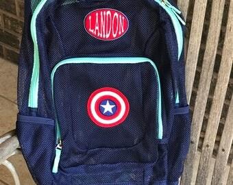 Monogrammed Backpack | Mesh Backpack | Back to School | Captain America  Backpack | Boys Backpack | Mesh Backpack |  Captain America