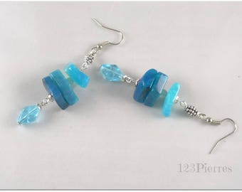 Earrings ethnic blue agate gradient and blue Czech bead - jewelry 123Pierres