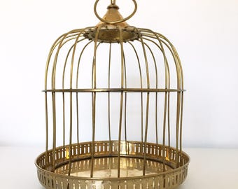 Vintage Solid Brass Decorative Bird Cage, Hanging Or Countre Mount.  Jungalow, Bohemian,