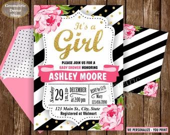 Floral / Baby shower Invitation / Co-ed Baby Shower / Party Invite / Flowers / Pink / Black / stripes / Girl / Gold / glitter / BBFL2