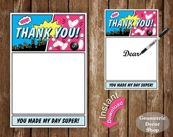 Bowling Birthday Thank you card Superhero Party Superheroes Girl Bowling Treat Bag Toppers Strike Pink Teal Instant Download THSPH1