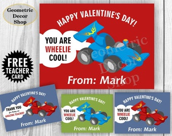 Race car Valentine Card / Cars Valentines Card / Valentine's Day / Personalized / red / blue / green / Valentine Tags teacher Kids VCard46
