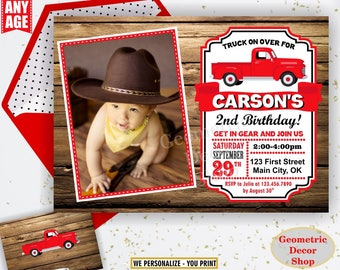 Red Truck / birthday invitation / woodland / farm / birthday invite / car / 1st first / rustic / boy / invites / Photo / Photograph BDTrack1
