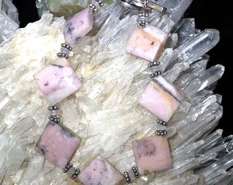 Rhodochrosite Bracelet with Heart Toggle