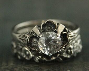 Floral Bridal Set~Antique Style Ring~Vintage Style Ring~Flower Ring~Floral Ring~Promise Ring~La France~White Topaz Ring~Flower Band