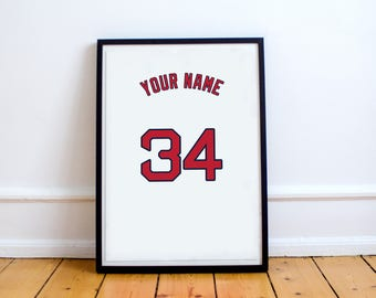 Boston Red Sox - Customisable Name and Number Print.