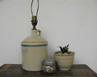 Rustic Lamp, Stoneware Jug, Salt Glaze, Primitive Decor, Vintage Lighting,  Farmhouse