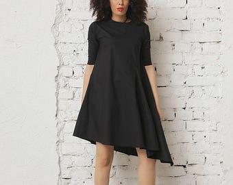 SALE Women Black Dress, Summer Dress, Black Asymmetric Dress, Short Sleeved Dress, Casual Black Dress, Office Dress, Wide Dress, Ladies Dres