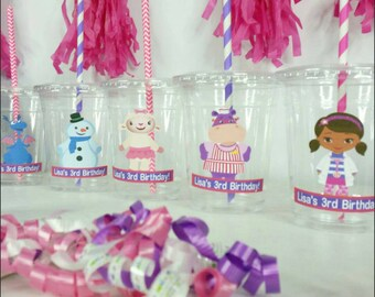 12 Personalized Doc Themed Party Cups with Straws and Lids!, Girl Doctor Plastic Party Cups