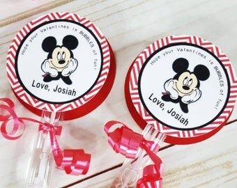 6 Personalized Mickey Mouse Bubble Valentine's Day Favors