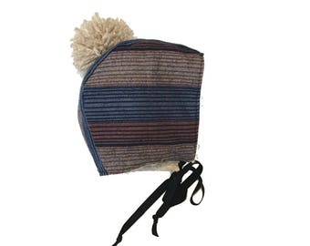 Ansley - Flannel Striped Bonnet / Trapper Hat