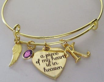 Gold A Piece Of My Heart  Bangle Bracelet W/  BIRTHSTONE / INITIAL / Wing  Bangle CHILD / Infant - Lost Of A Love One - Gift For Her Usa P1