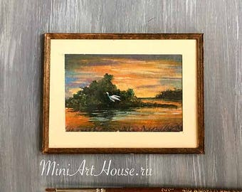 Miniature painting. Watercolor Handpainted Hand Made