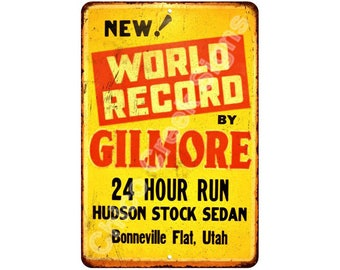 World Record by Gilmore Vintage Look Reproduction Metal Sign 8x12 8121695