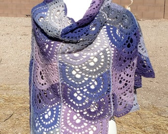Hollyhock Purple, Pink, and Greys Wool Fan Motif Crocheted Shawl