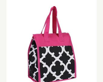 ON SALE Black and Hot Pink quatrefoil print Insulated Lunch bag for Lunch box or craft supplies pockets organizer
