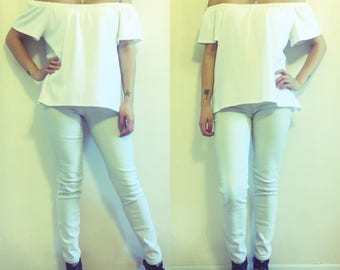 SALE | Size X-Large - Off the Shoulder Tee - White | only one available at sale price