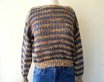 Vintage 1980s Loose hand knit made in Italy cotton knit sweater