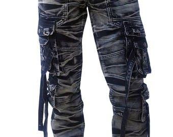 Long Cargo Pants Gray / Black Batik