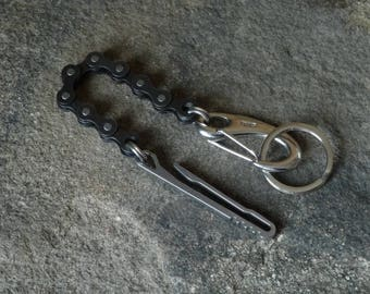 SCKLeather  Handmade Recycled bicycle Keychain belthook danglers/lanyards.