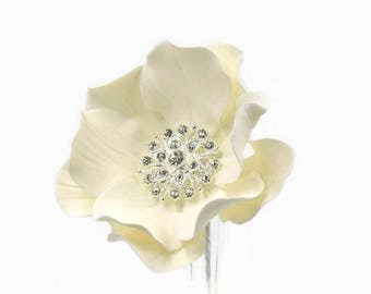 White Open Rose Sugar Flower with Crystal Brooch Center