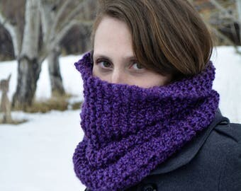 Purple Cowl Scarf / Knit Cowl / Cowl Neck Scarf / Knitted Scarf