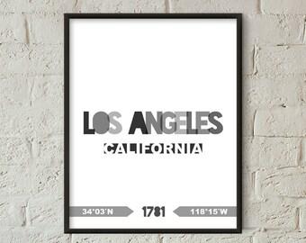 Los Angeles Print, Los Angeles Printable, Los Angeles Poster, Los Angeles Wall Art, Los Angeles Coordinates, Los Angeles Minimalist (W0207)