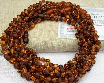 Wholesale 10 Baltic amber teething necklaces, baby amber necklace, raw unpolished amber necklaces, multicolored,  genuine Baltic amber