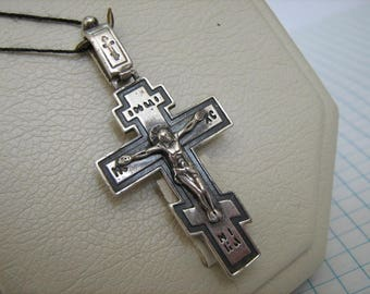 SOLID 925 Sterling Silver CROSS Pendant Jesus Crucifix Darkened Oxidized Russian Inscription Спаси и сохрани Christian Church Jewelry