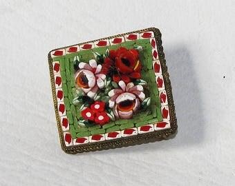 Micro Mosaic Brooch, Italy Mosaic Jewelry, Italian Brooch, Glass Mini Mosaic Pin, Rome Italy