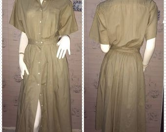 Vintage Rlaph Lauren Linen Shirt Dress Size 9 Medium.