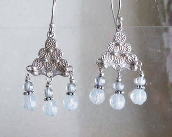 Sterling Silver and Opalite Moonstone Chandeleier Earrings