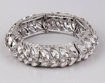 Bridal Wedding Bracelet, Crystal Bangle Bracelet, Silver Wedding Bridal Bracelet, Bridesmaids Jewelry, Bangle Bracelet, Crystal Bracelet